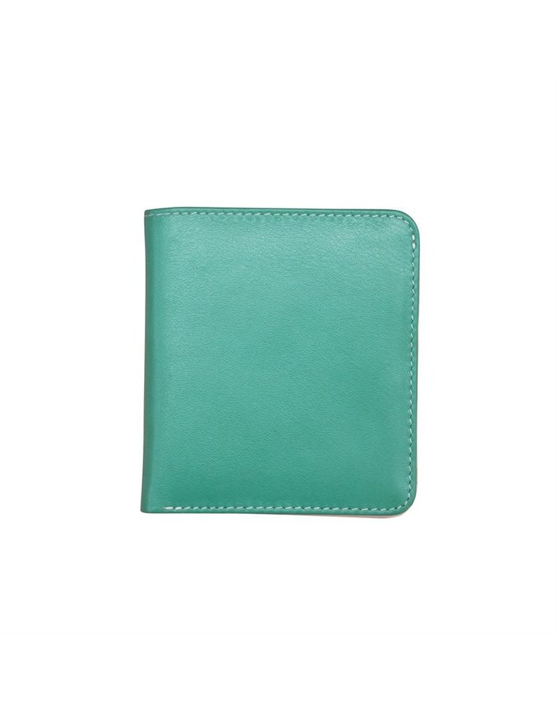 Leather Handbags and Accessories 7831 Turquoise/Bone - RFID Mini Wallet Two Toned