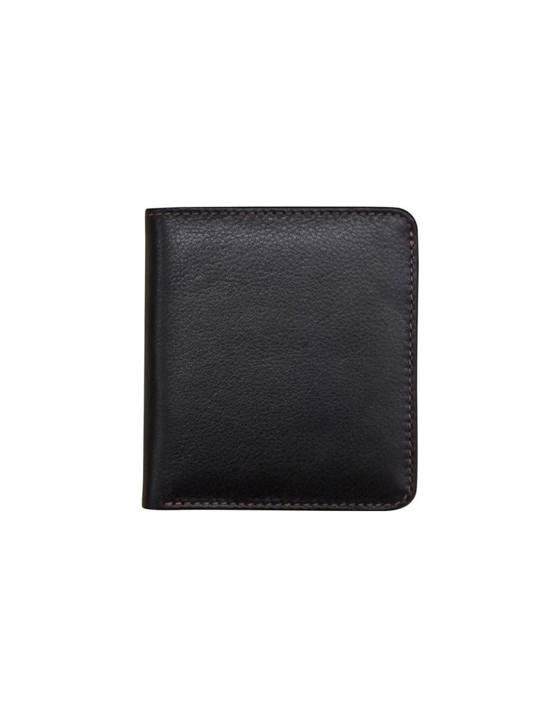 Leather Handbags and Accessories 7831 Black/Toffee - RFID Mini Wallet Two Toned