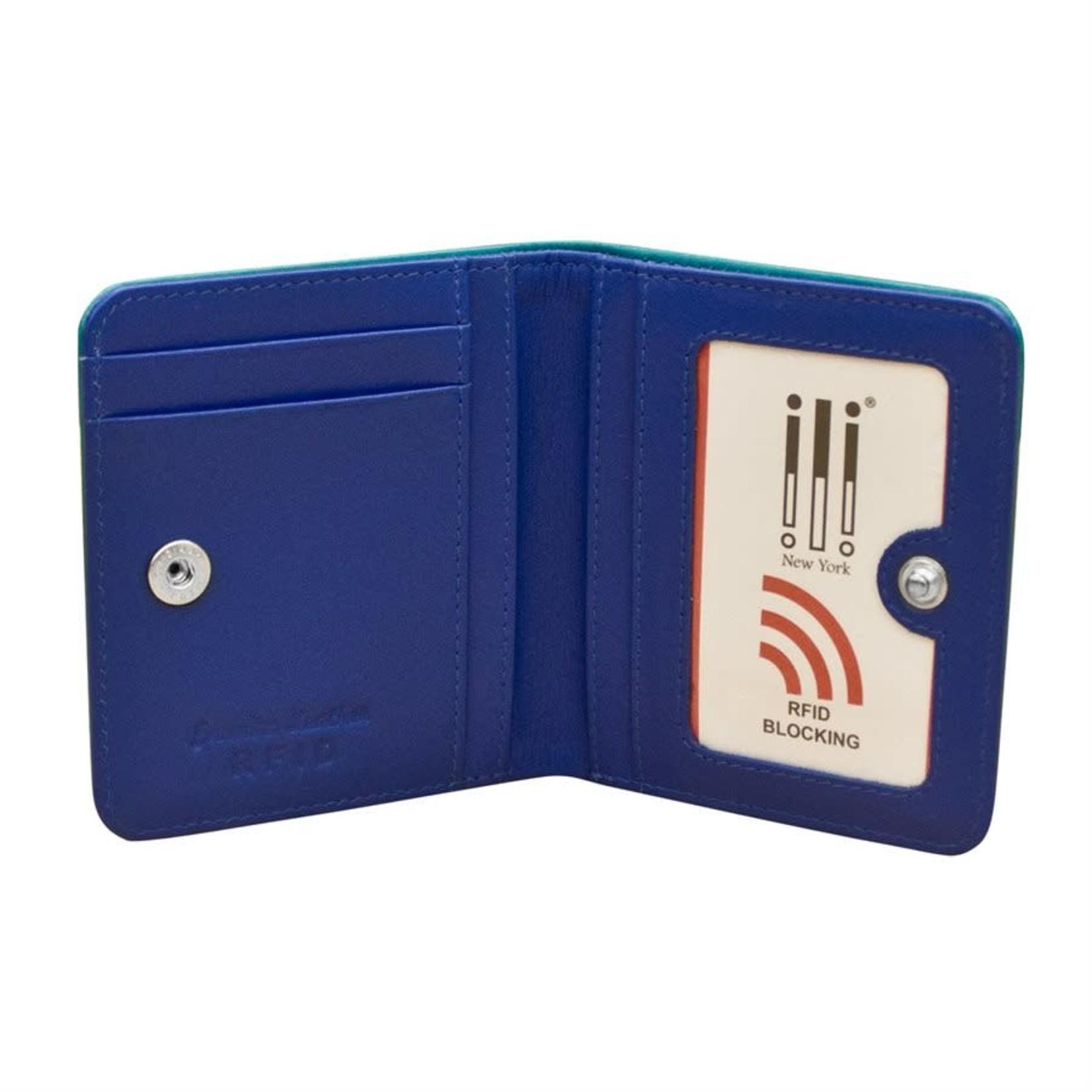 Leather Handbags and Accessories 7831 Aqua/Cobalt - RFID Mini Wallet Two Toned