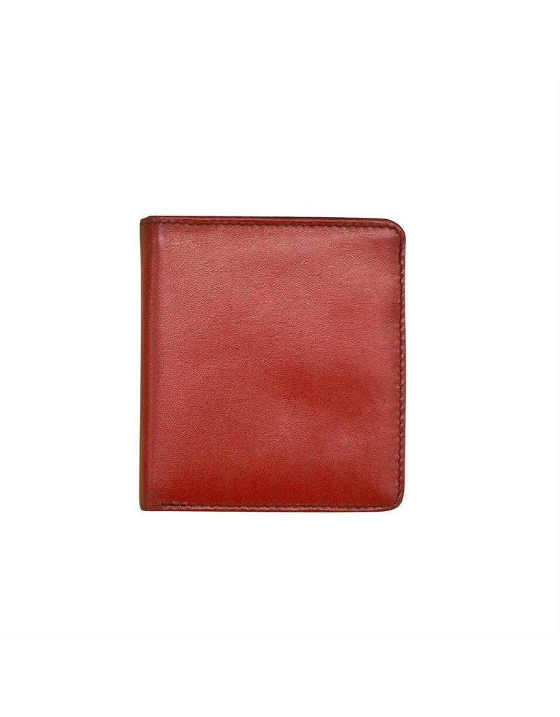 Leather Handbags and Accessories 7831 Red/Black - RFID Mini Wallet Two Toned