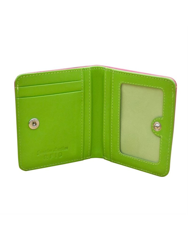 Leather Handbags and Accessories 7831 Hot Pink/Leaf - RFID Mini Wallet Two Toned