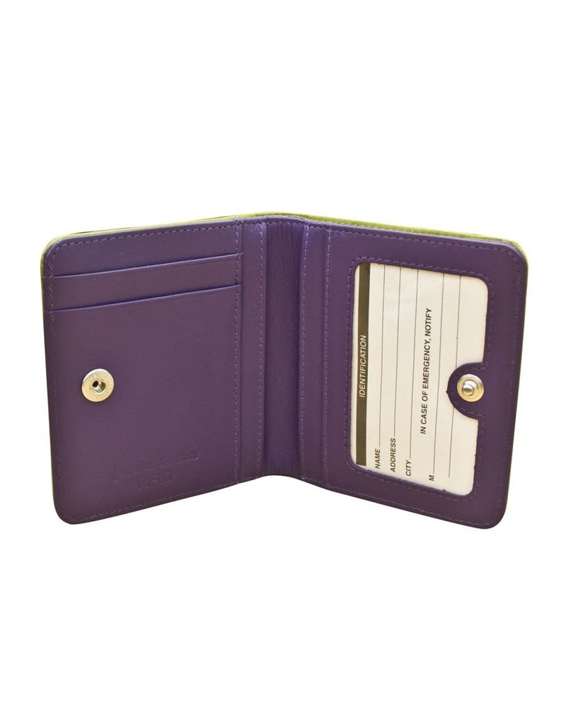 Leather Handbags and Accessories 7831 Moss Green/Purple - RFID Mini Wallet Two Toned