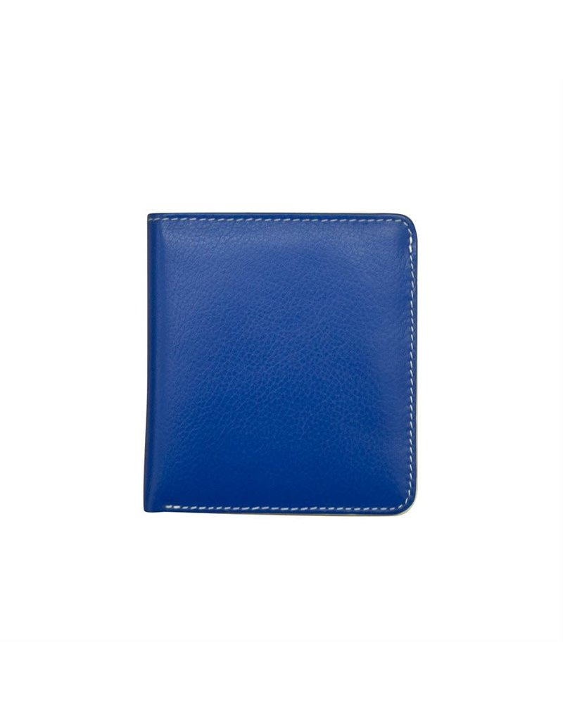 Leather Handbags and Accessories 7831 Cobalt/Bone - RFID Mini Wallet Two Toned