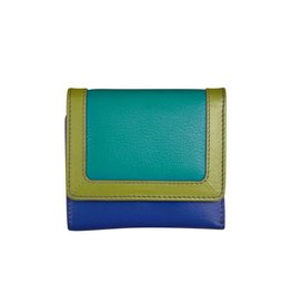 Leather Handbags and Accessories 7824 Cool Tropics - RFID Tri-fold Color Block Mini Wallet