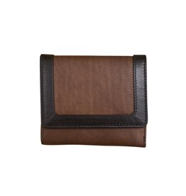 Leather Handbags and Accessories 7824 Toffee/Black - RFID Tri-fold Color Block Mini Wallet