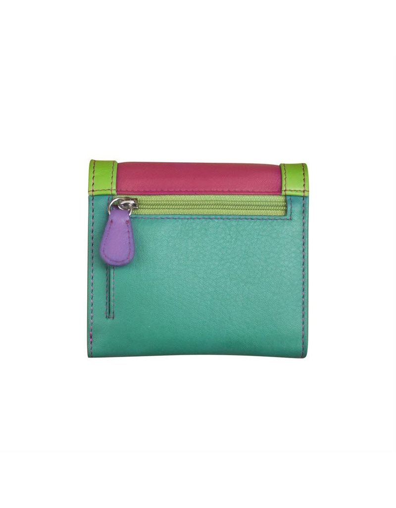 Leather Handbags and Accessories 7824 Palm Beach - RFID Tri-fold Color Block Mini Wallet