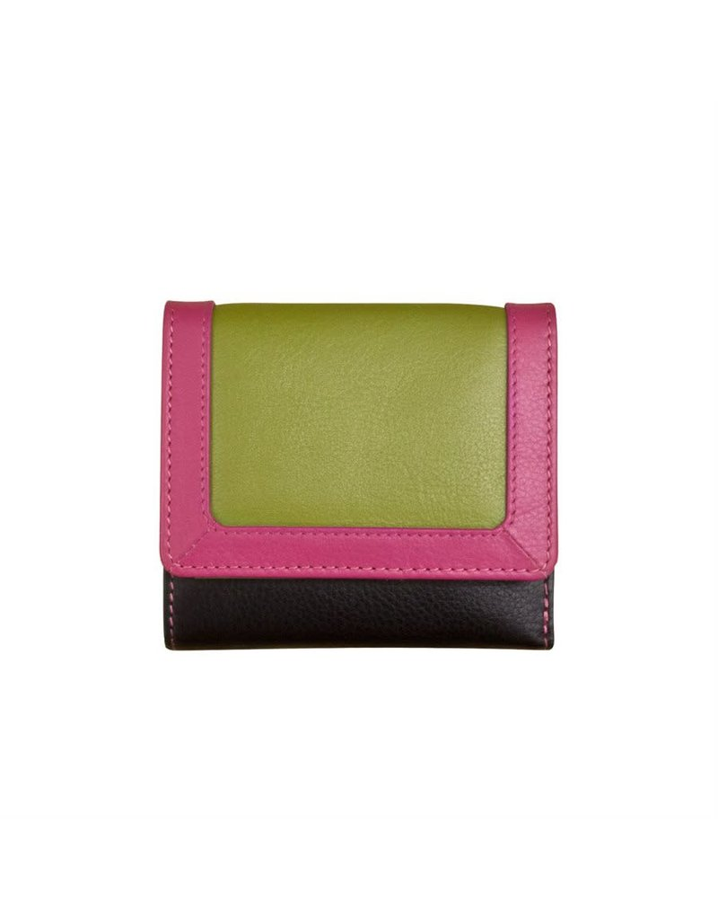 Leather Handbags and Accessories 7824 Black Brights - RFID Tri-fold Color Block Mini Wallet