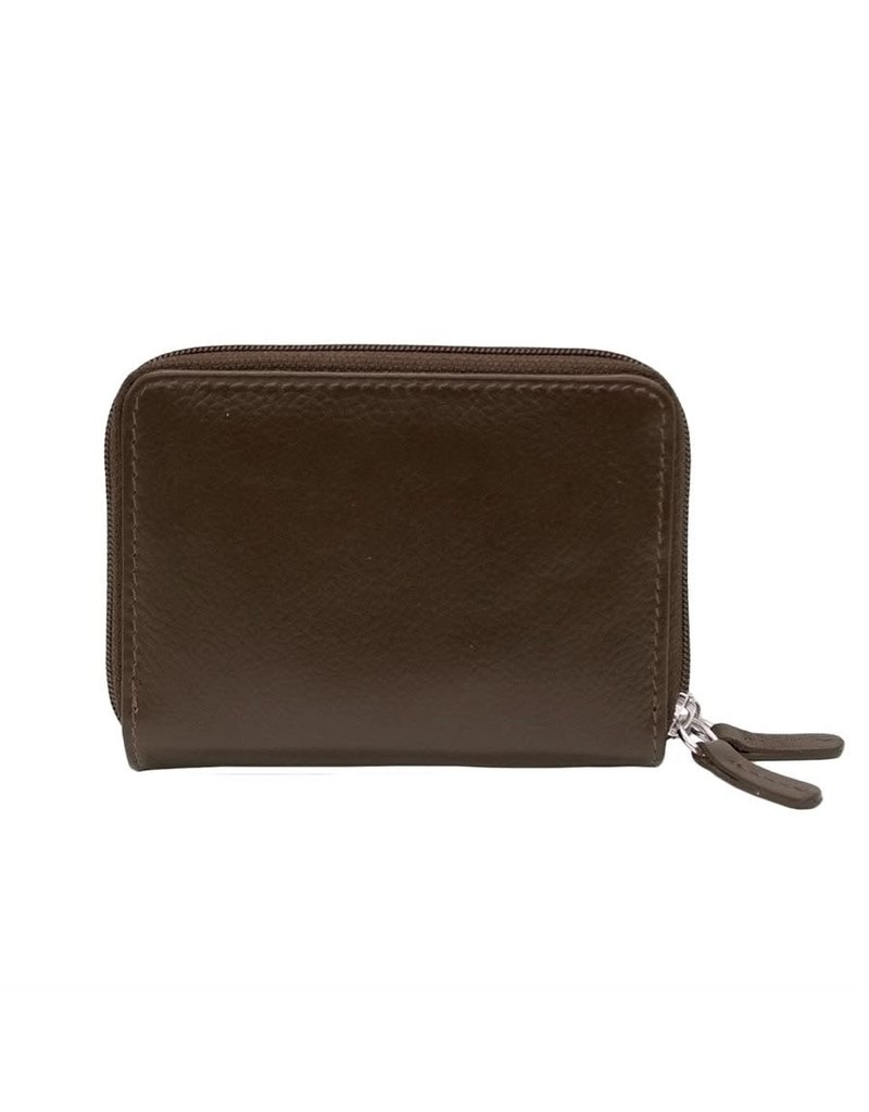 6714 Brown - RFID Double Zip Accordion Card Holder