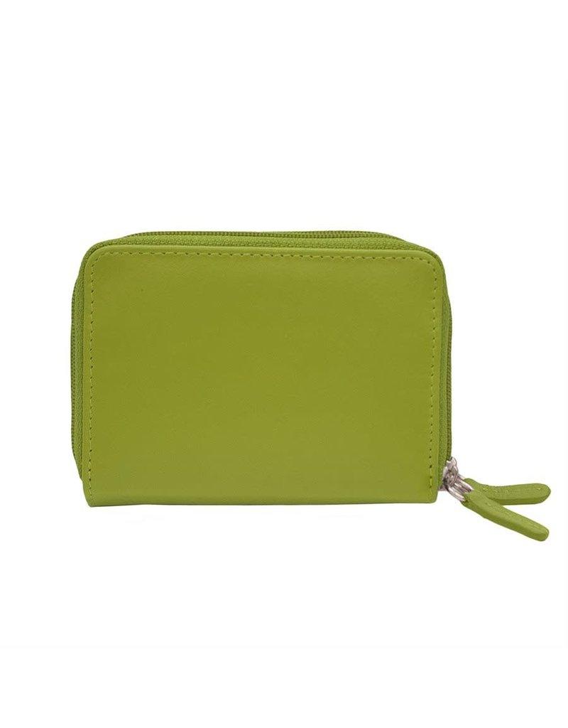 6714 Moss Green - RFID Double Zip Accordion Card Holder