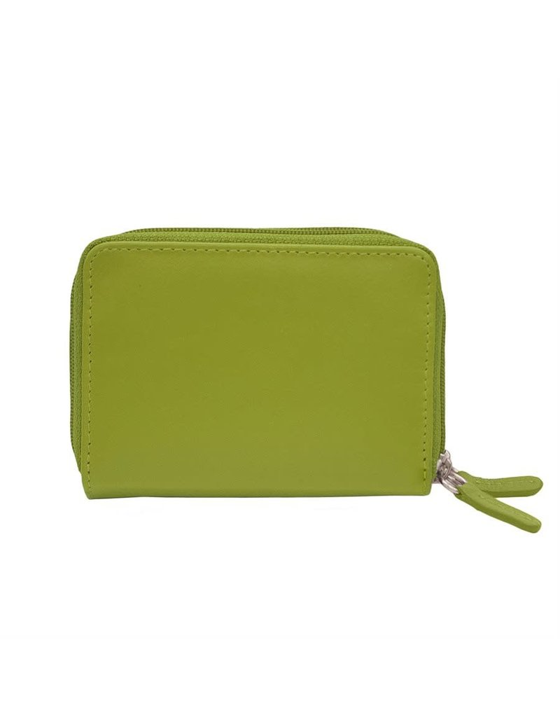 Leather Handbags and Accessories 6714 Moss Green - RFID Double Zip Accordion Card Holder