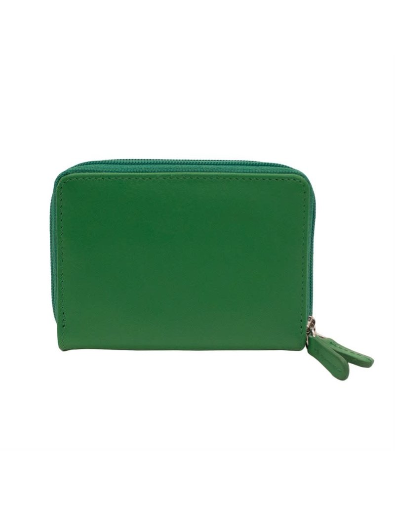 Leather Handbags and Accessories 6714 Emerald - RFID Double Zip Accordion Card Holder