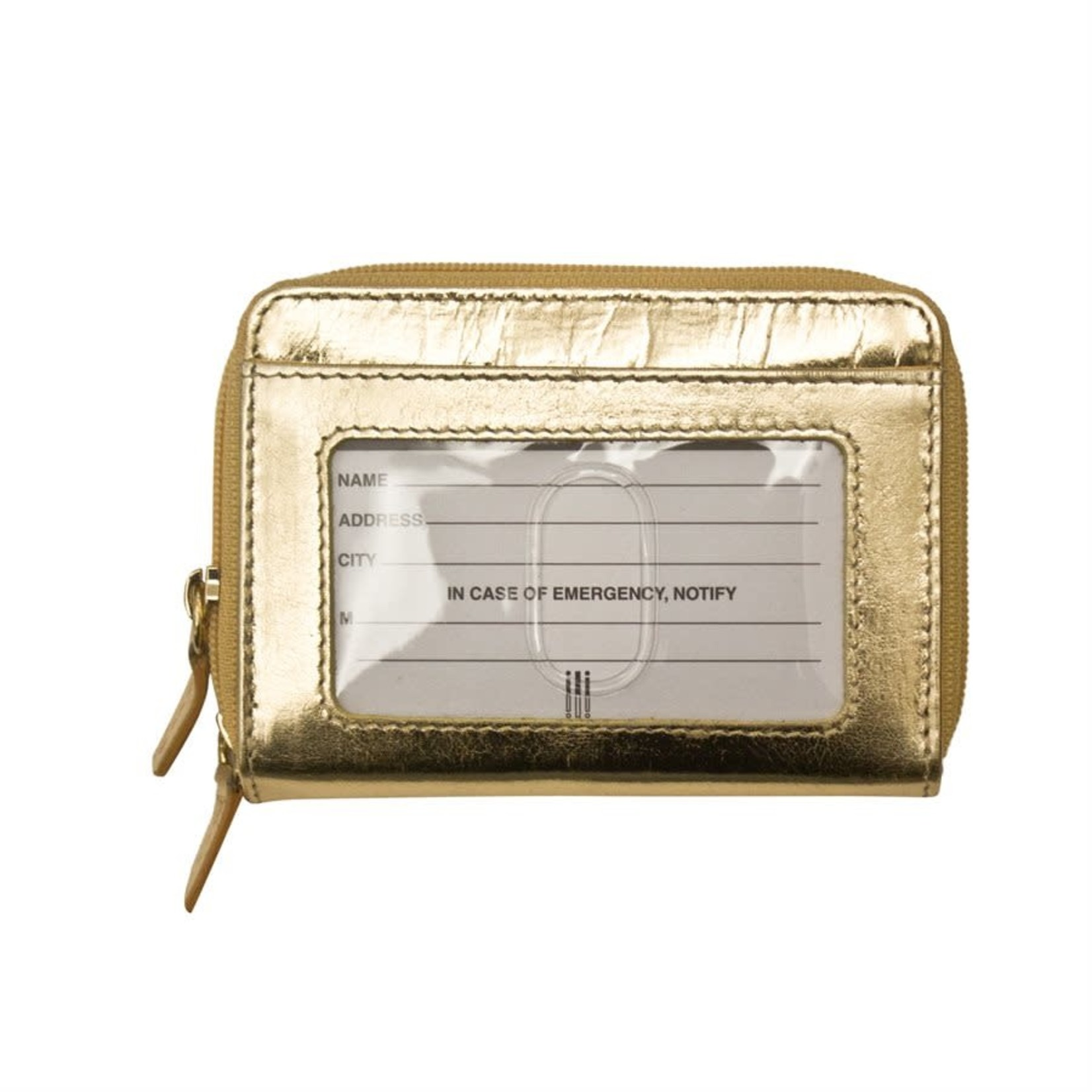 Leather Handbags and Accessories 6714 Gold - RFID Double Zip Accordion Card Holder