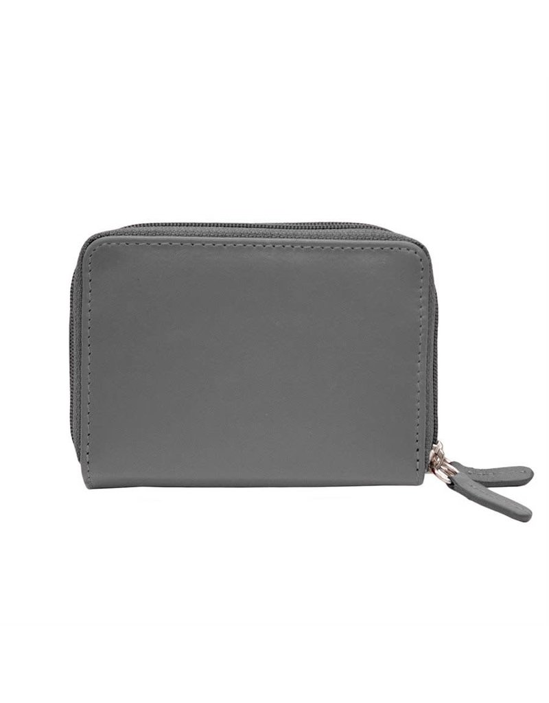Leather Handbags and Accessories 6714 Grey - RFID Double Zip Accordion Card Holder