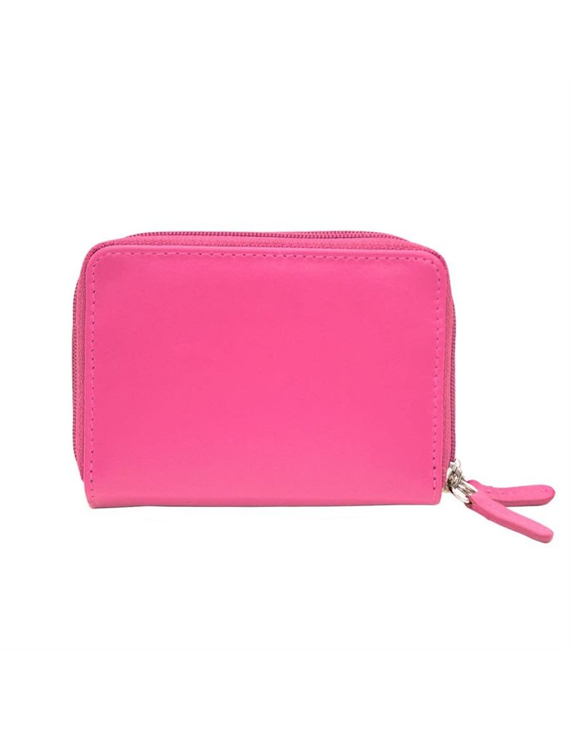 Leather Handbags and Accessories 6714 Hot Pink - RFID Double Zip Accordion Card Holder