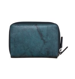 Leather Handbags and Accessories 6714 Jeans Blue - RFID Double Zip Accordion Card Holder