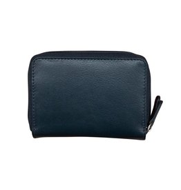 Leather Handbags and Accessories 6714 Navy - RFID Double Zip Accordion Card Holder