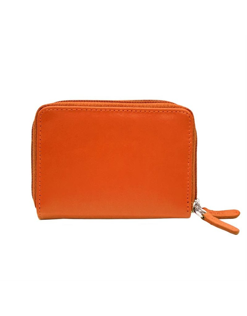 Leather Handbags and Accessories 6714 Orange - RFID Double Zip Accordion Card Holder