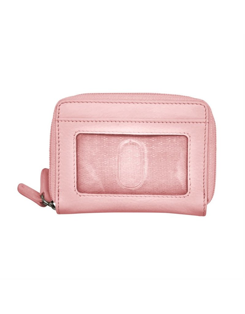 Leather Handbags and Accessories 6714 Pastel Pink - RFID Double Zip Accordion Card Holder
