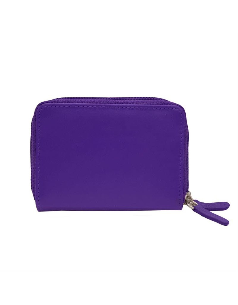 Leather Handbags and Accessories 6714 Purple - RFID Double Zip Accordion Card Holder