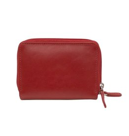 Leather Handbags and Accessories 6714 Red - RFID Double Zip Accordion Card Holder
