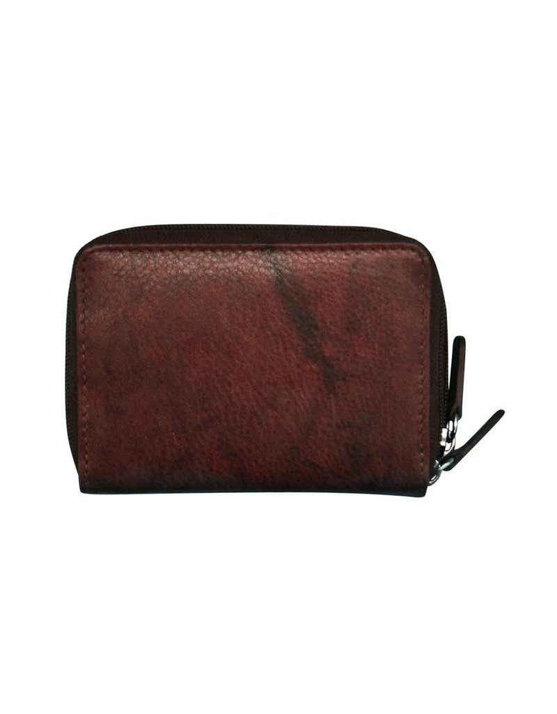 Leather Handbags and Accessories 6714 Redwood - RFID Double Zip Accordion Card Holder