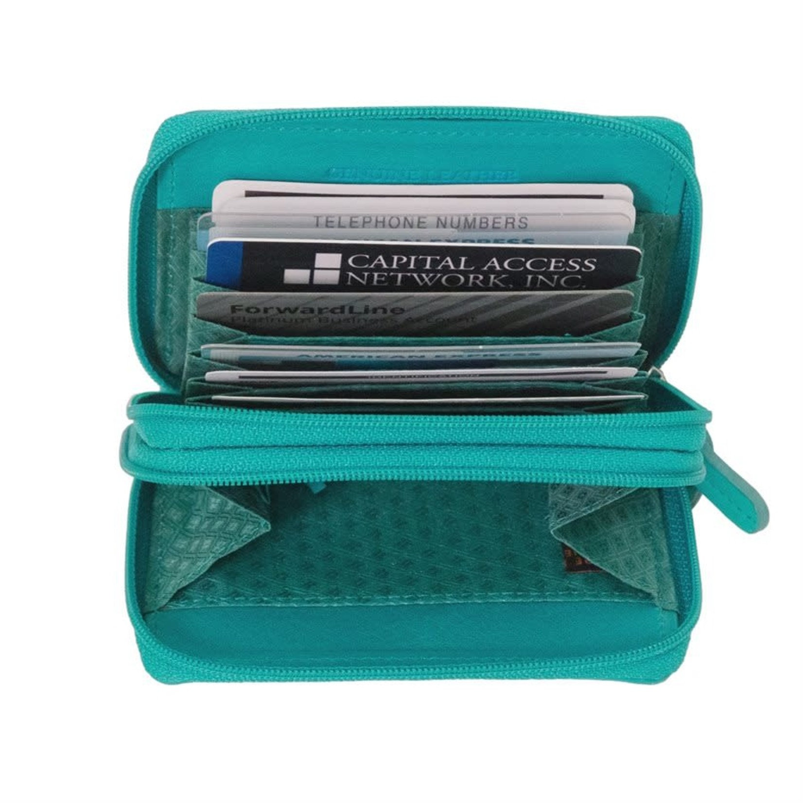Leather Handbags and Accessories 6714 Silver - RFID Double Zip Accordion Card Holder