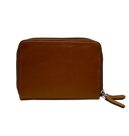 Leather Handbags and Accessories 6714 Toffee - RFID Double Zip Accordion Card Holder
