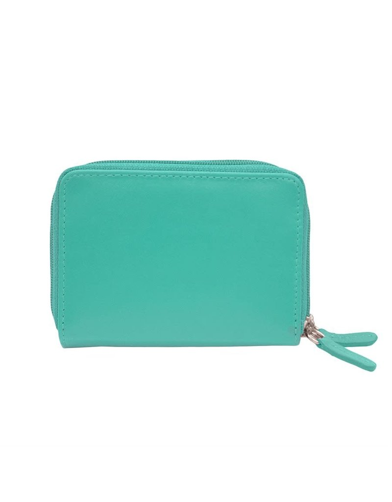 Leather Handbags and Accessories 6714 Turquoise - RFID Double Zip Accordion Card Holder