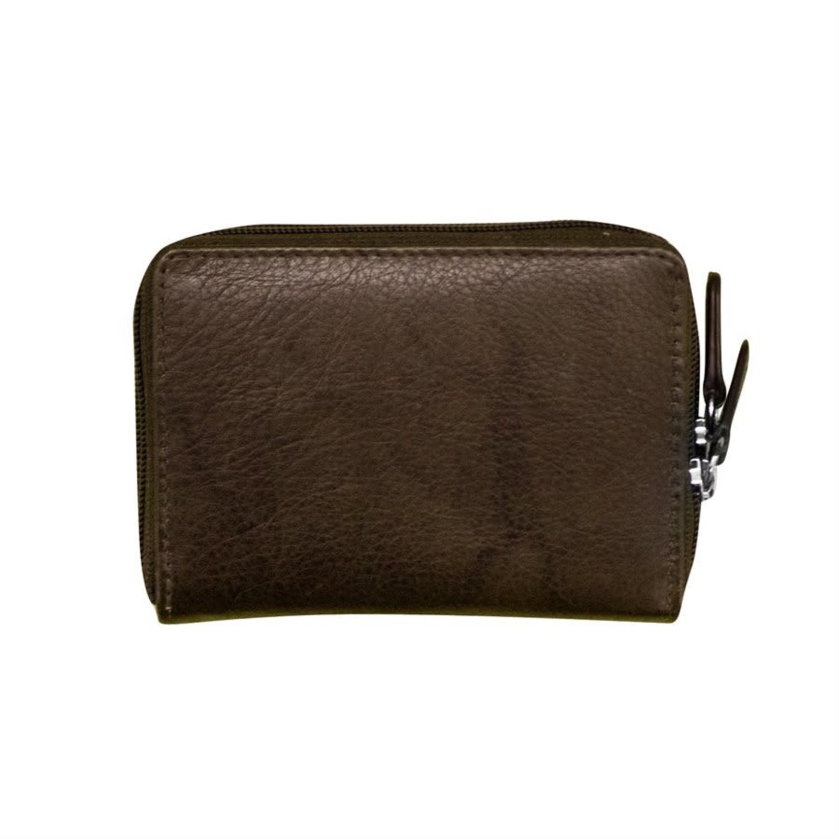 Leather Handbags and Accessories 6714 Walnut - RFID Double Zip Accordion Card Holder