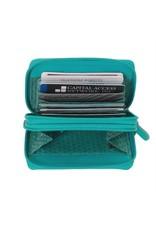 6714 Walnut - RFID Double Zip Accordion Card Holder