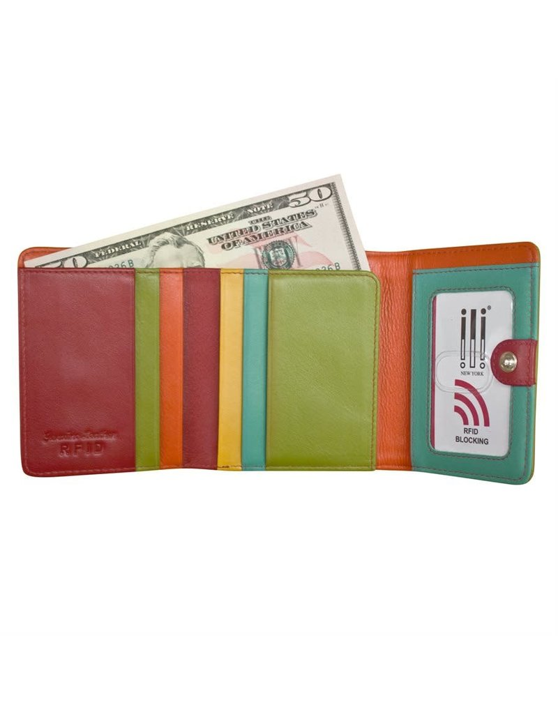 Leather Handbags and Accessories 7824 Citrus - RFID Tri-fold Color Block Mini Wallet