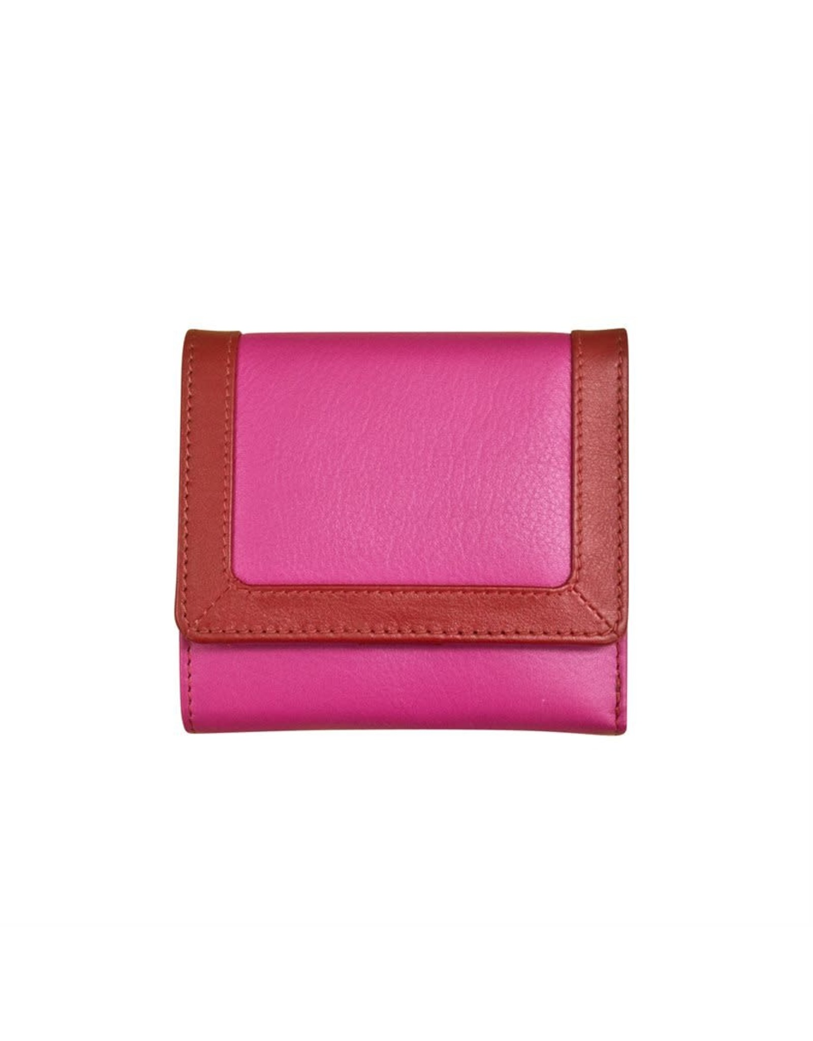 Leather Handbags and Accessories 7824 Rouge - RFID Tri-fold Color Block Mini Wallet