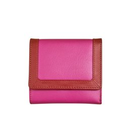 7824 Rouge - RFID Tri-fold Color Block Mini Wallet