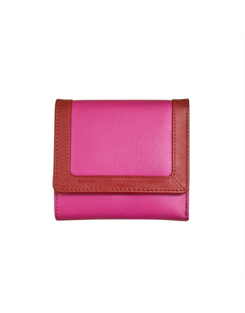 7824 Rouge - RFID Tri-fold Color Block Mini Wallet