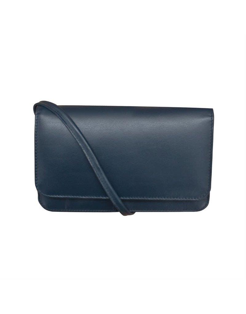Leather Handbags and Accessories 6517 Navy - RFID Smartphone Crossbody