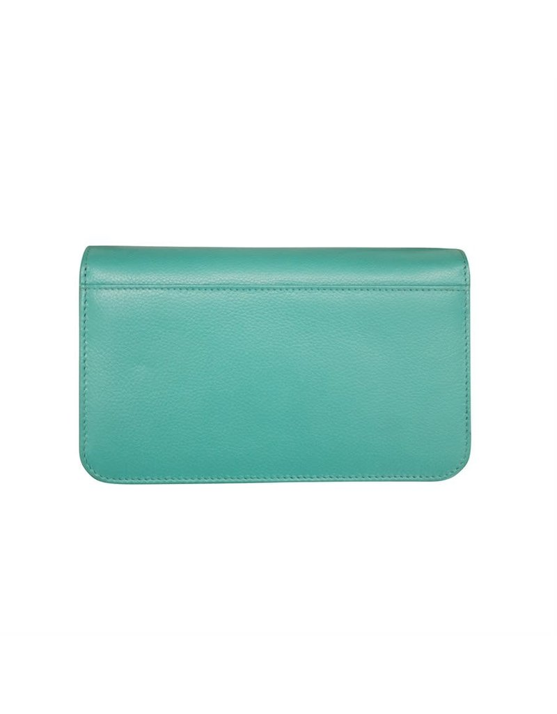 Leather Handbags and Accessories 6517 Turquoise - RFID Smartphone Crossbody