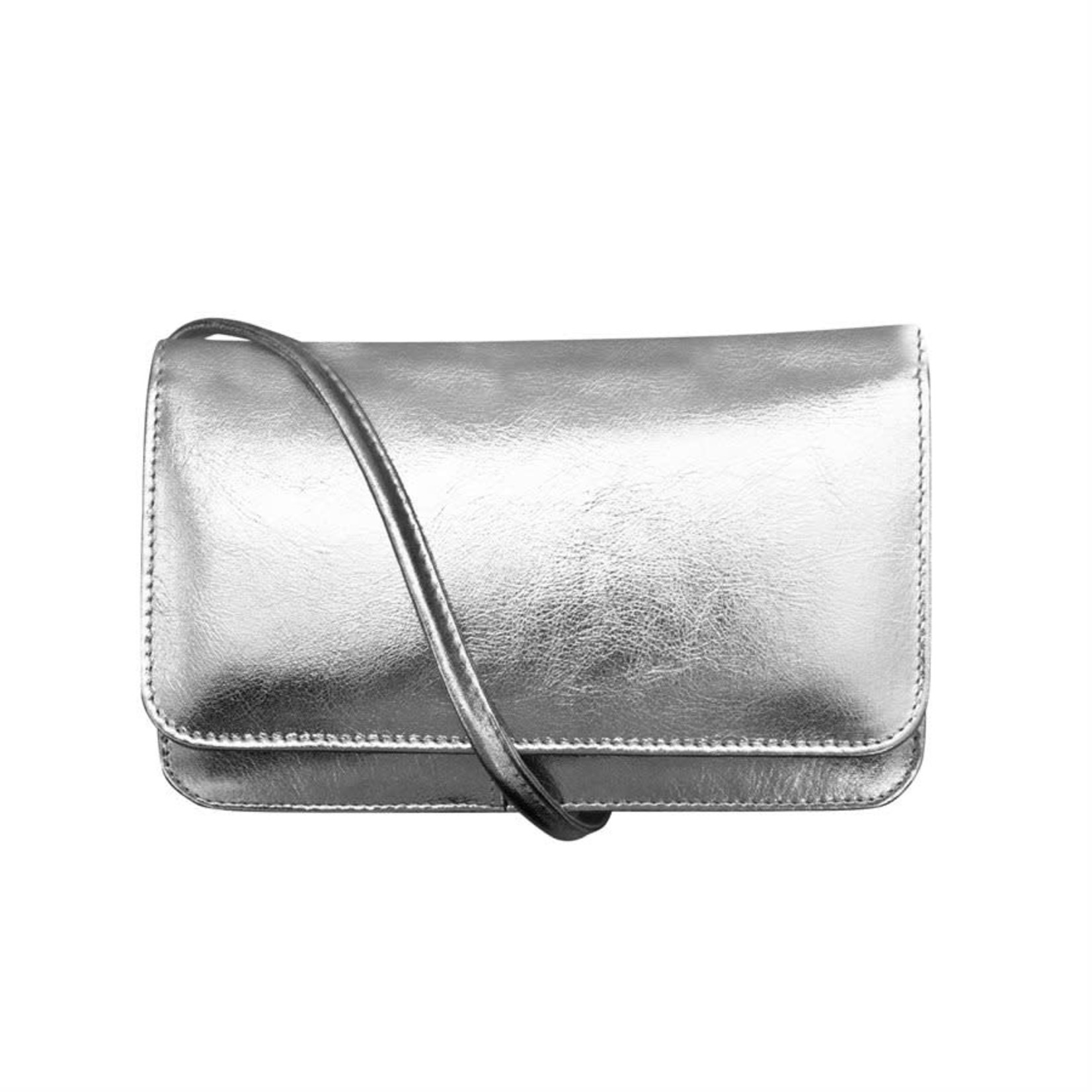 Leather Handbags and Accessories 6517M Silver - RFID Smartphone Crossbody