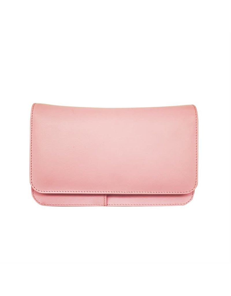 Leather Handbags and Accessories 6517 Pastel Pink - RFID Smartphone Crossbody