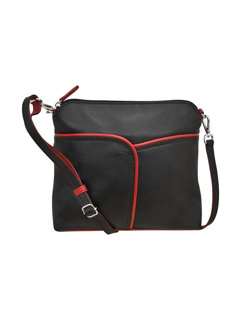 Leather Handbags and Accessories 6123 Black/Red - Two Tone Leather Crossbody