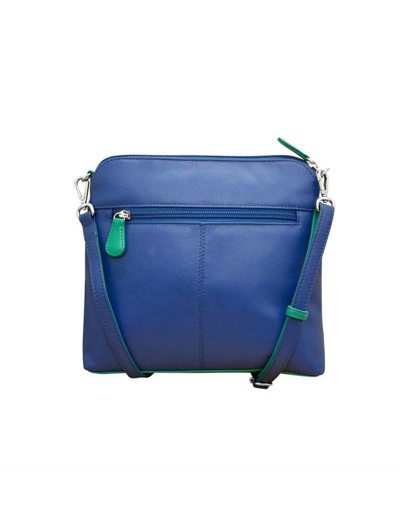6123 Cobalt/Aqua - Two Tone Leather Crossbody
