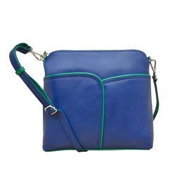 Leather Handbags and Accessories 6123 Cobalt/Aqua - Two Tone Leather Crossbody
