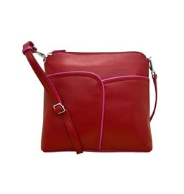 Leather Handbags and Accessories 6123 Red/Fab Fuschia - Two Tone Leather Crossbody