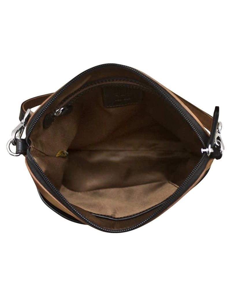 Leather Handbags and Accessories 6123 Toffee/Black - Two Tone Leather Crossbody
