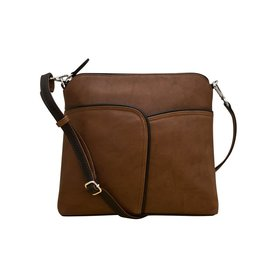 6123 Toffee/Black - Two Tone Leather Crossbody