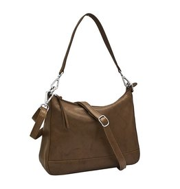 Leather Handbags and Accessories 6091 Toffee - Zip Top Hobo