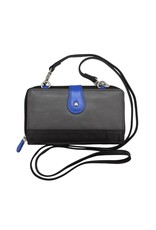 Leather Handbags and Accessories 6364 6 Plus Wallet Grey/Cobalt/Black