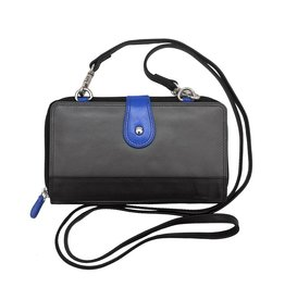 Leather Handbags and Accessories 6364 6 Plus Wallet Grey/Cobalt/Black