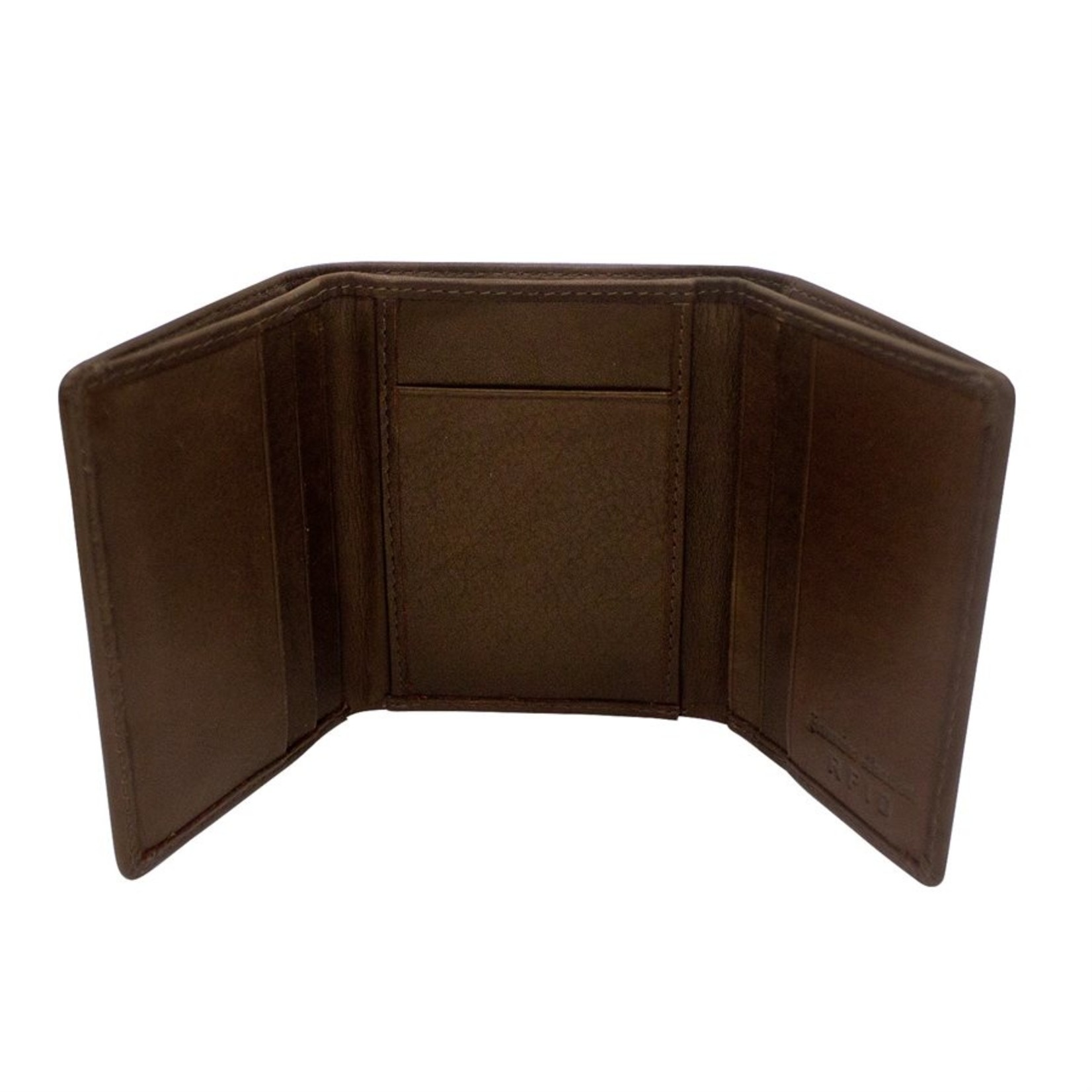 Leather Handbags and Accessories 7130 Brown - RFID Trifold Wallet