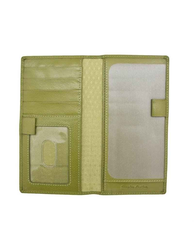 Leather Handbags and Accessories 7406 Checkbook Cover Moss Green