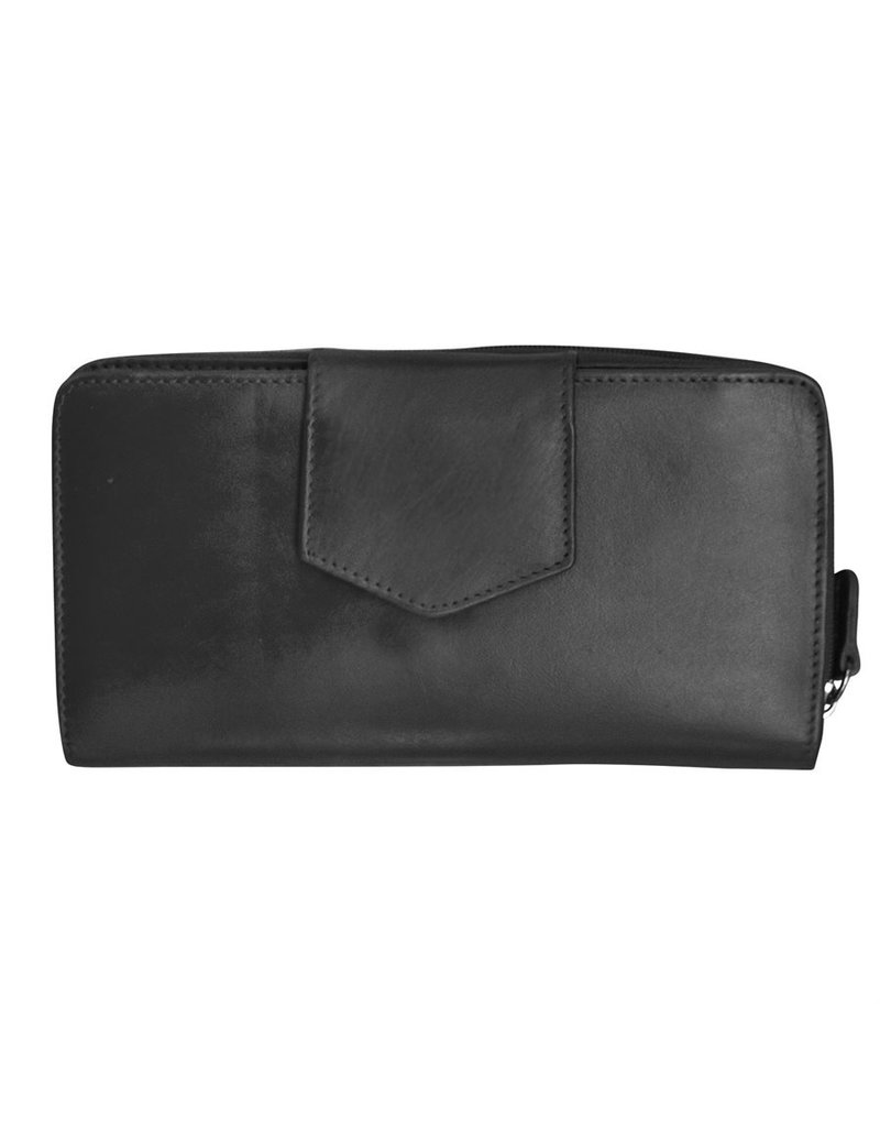 Leather Handbags and Accessories 7410 Wallet w Checkbook Black